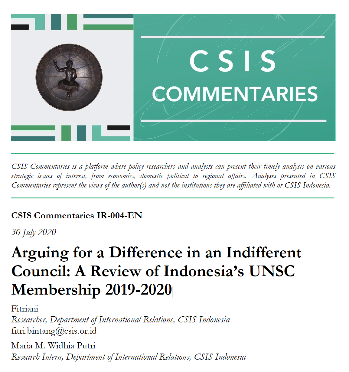 Arguing for a Difference in an Indifferent Council: A Review of Indonesia's UNSC Membership 2019-2020