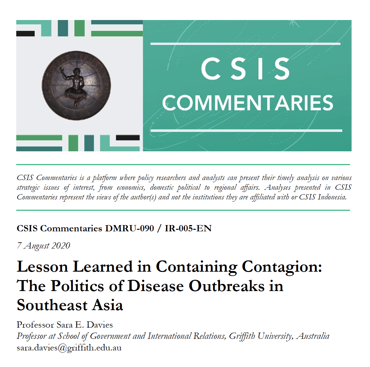 Lesson Learned in Containing Contagion: The Politics of Disease Outbreaks in Southeast Asia