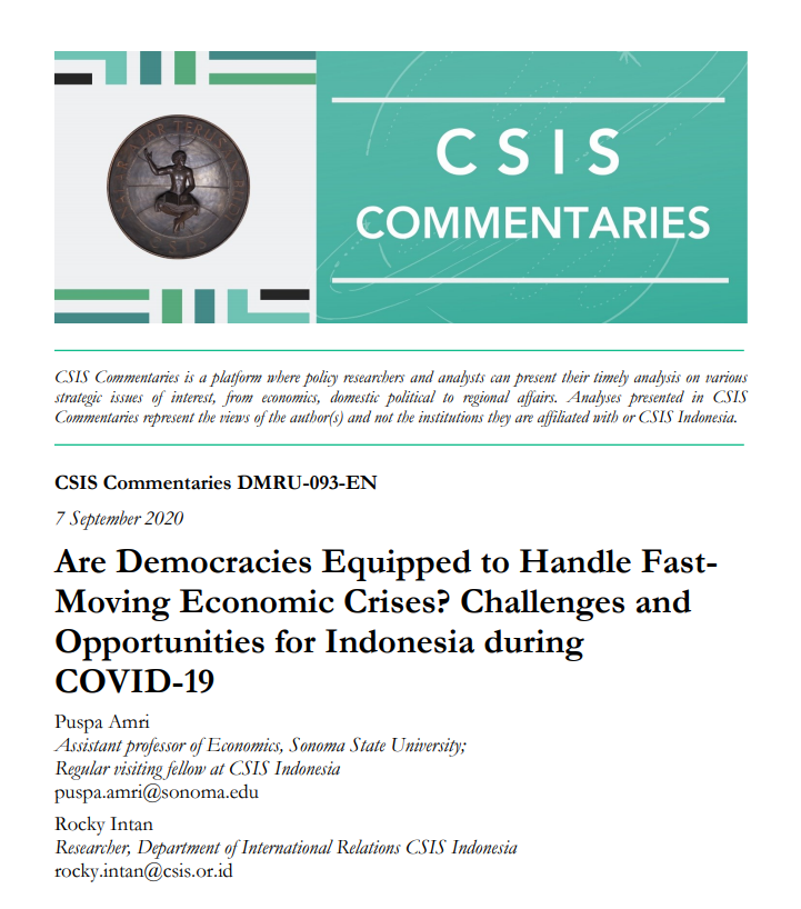 Are Democracies Equipped to Handle Fast-Moving Economic Crises? Challenges and Opportunities for Indonesia during COVID-19