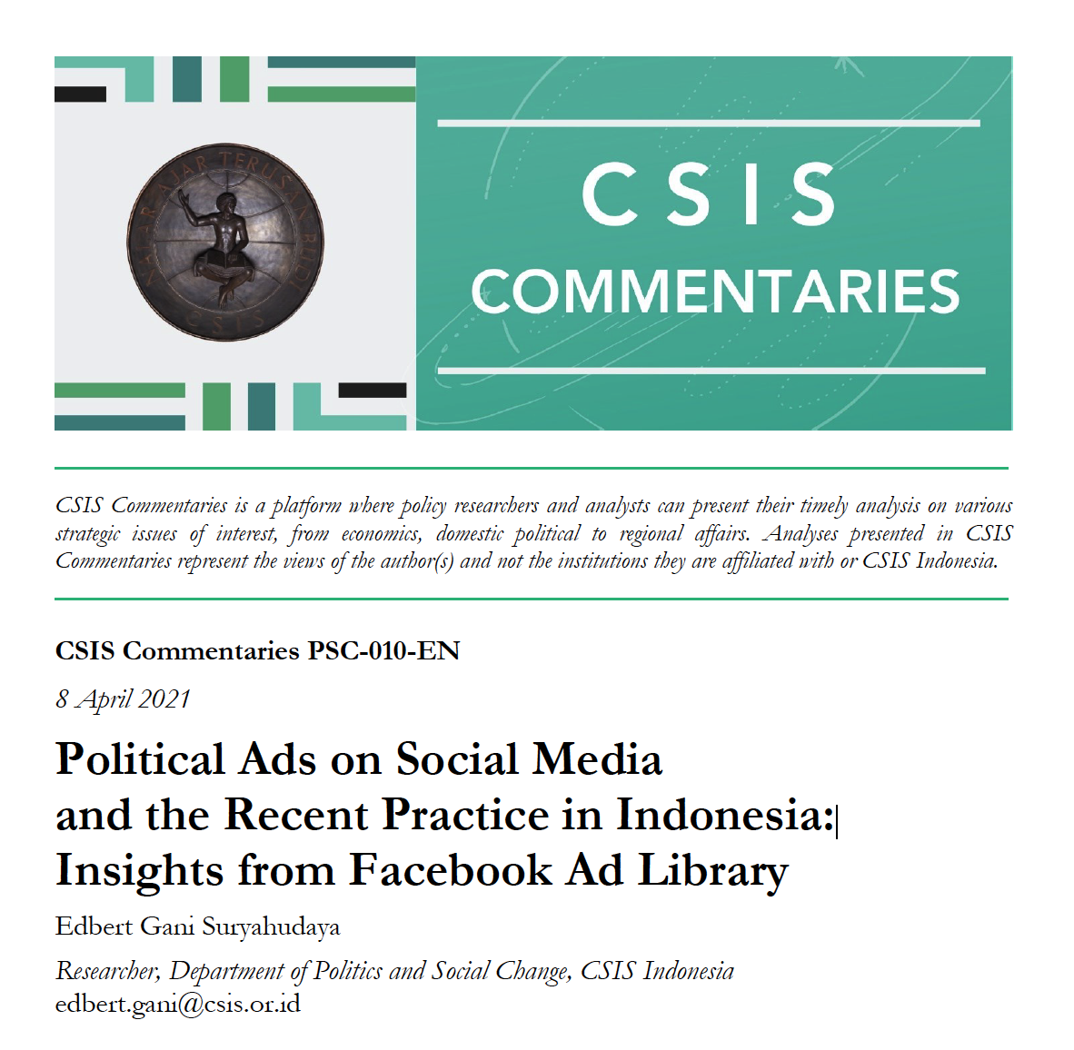 Political Ads on Social Media and the Recent Practice in Indonesia: Insights from Facebook Ad Library